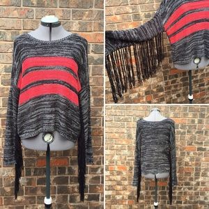 Volcom black fringe sweater with coral stripes, S